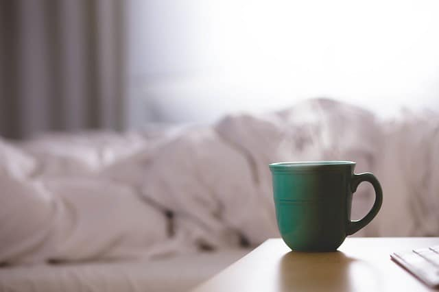 Morning coffee by bed
